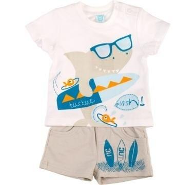 abbigliamento tuc tuc completo con squalo disegnato e surf