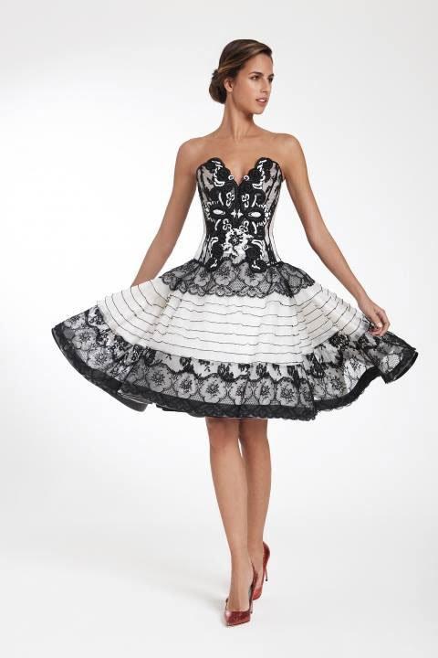 abito da gala per donna nero e bianco