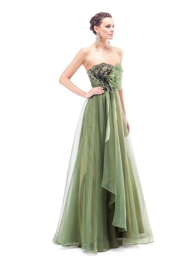 abito lungo da donna verde scuro