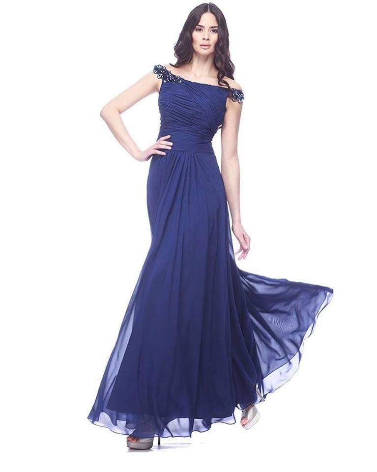 abito lungo da sera per donna colore blu scuro