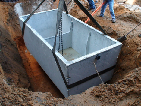 Waste treatment tank or septic tank install at private house