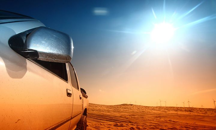 sun shining on truck