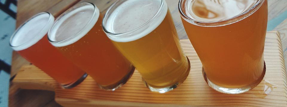 Close up of Bitter Tasting Room beer flights