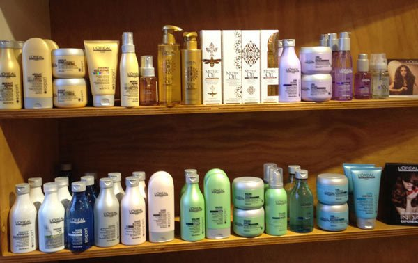 Hair products on shelf
