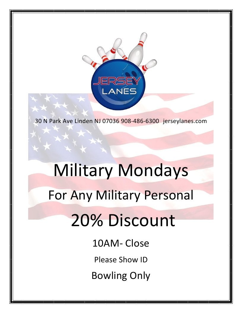 jersey lanes linden new jersey military mondays