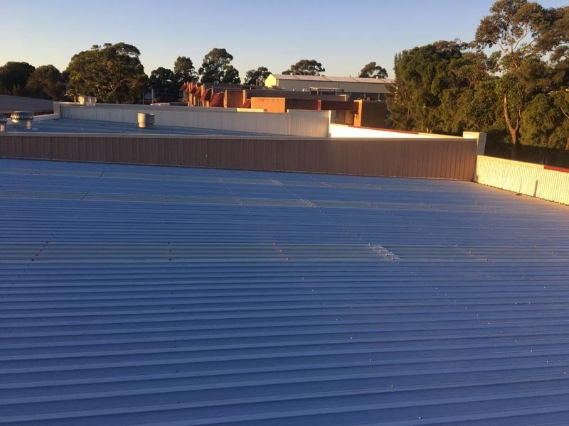Top view of metal roof replacement