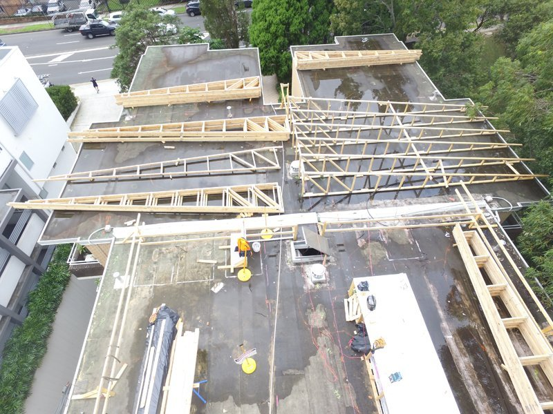 Construction of new roof