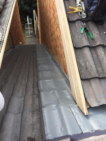 Roof repair work in progress