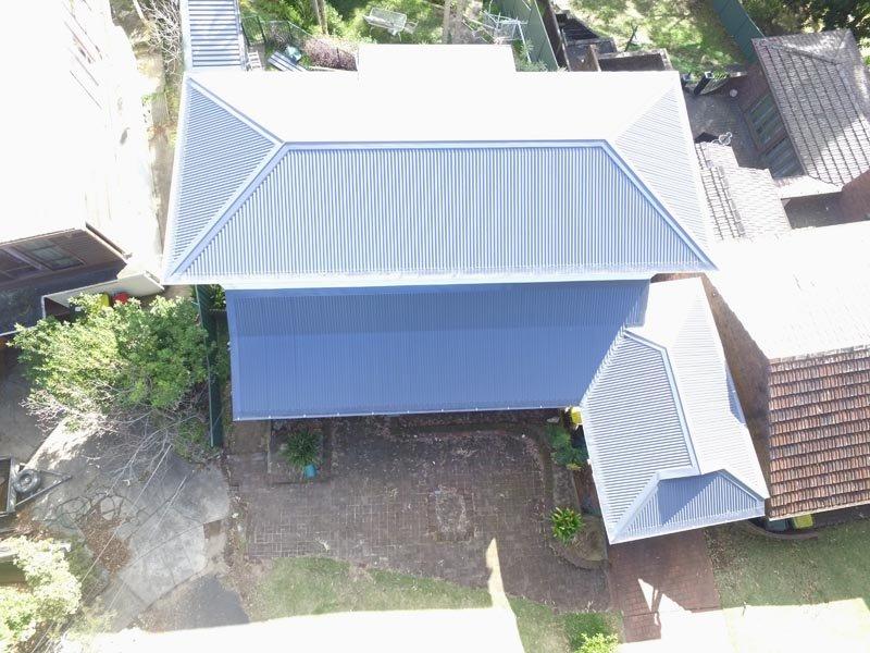 top view of  metal roof