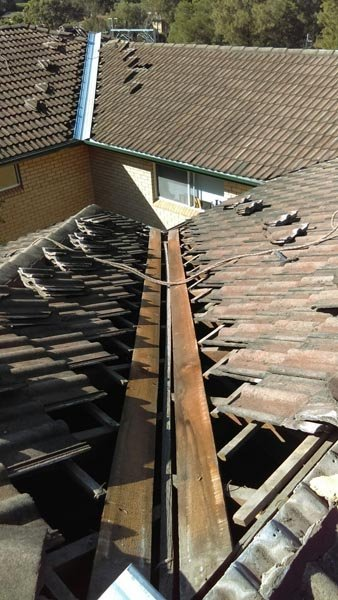 Roof valley being replaced