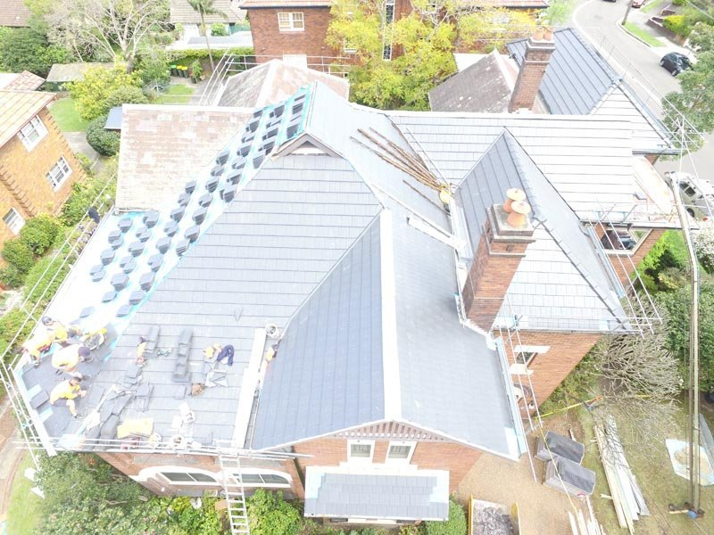 Top view of concrete tile roof