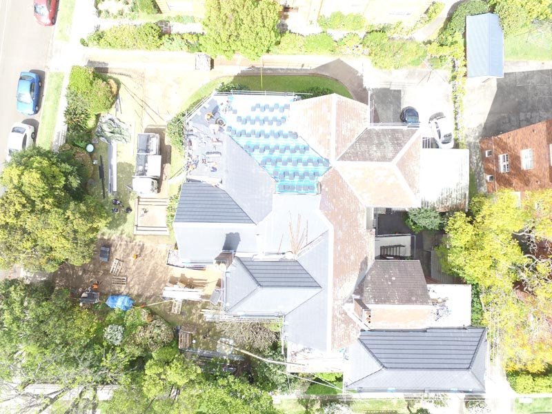 Aerial view of concrete tile roof