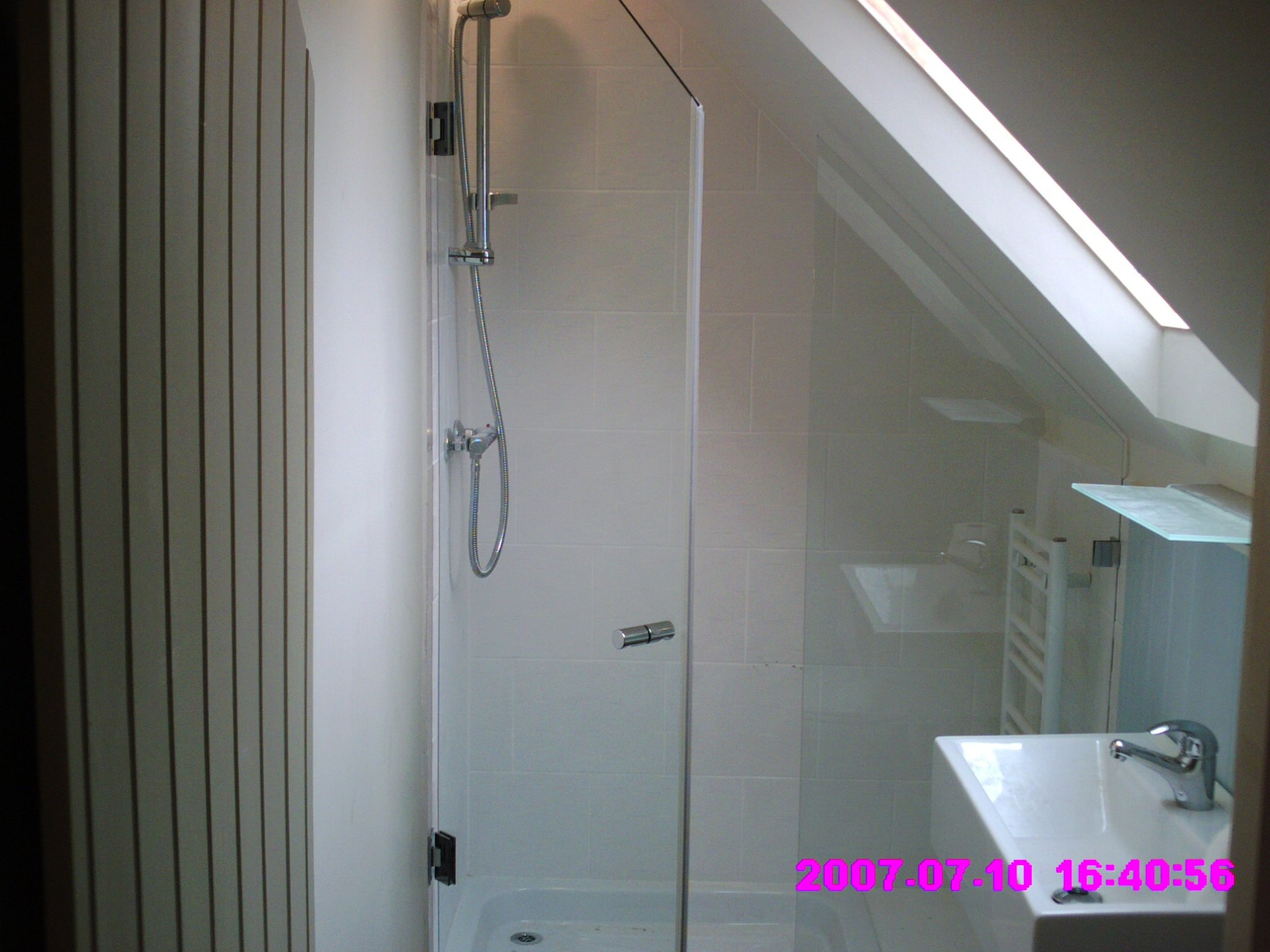 Bathroom with glass fitted