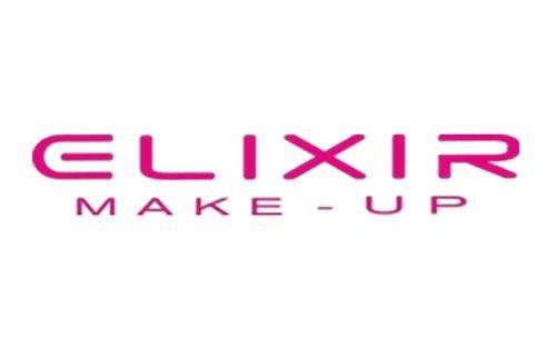 Un logo con scritto Elixir makeup in rosa