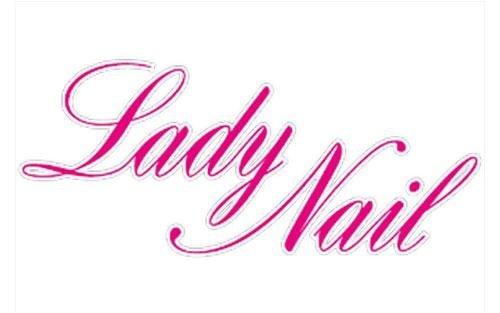 Un logo con scritto Lady nail in rosa