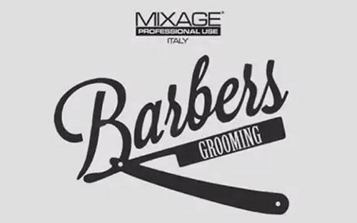 Un logo con scritto Mixage professional use Italy e barbers grooming in nero su uno sfondo di color bianco