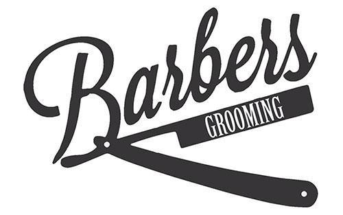 logo Barbers Grooming con sotto un rasoio nero