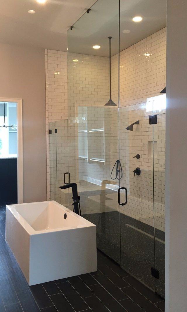 custom shower door, frameless, custom glass