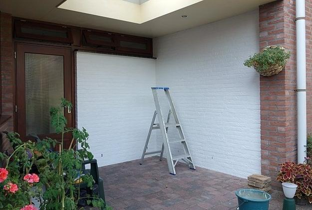 Exterior wall paint work in progress
