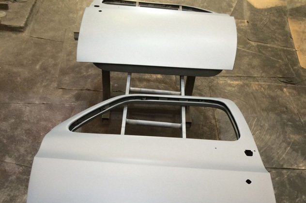 sandblasted car chassis