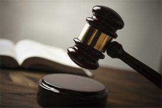 Judge pounding gavel in Asheboro courtroom