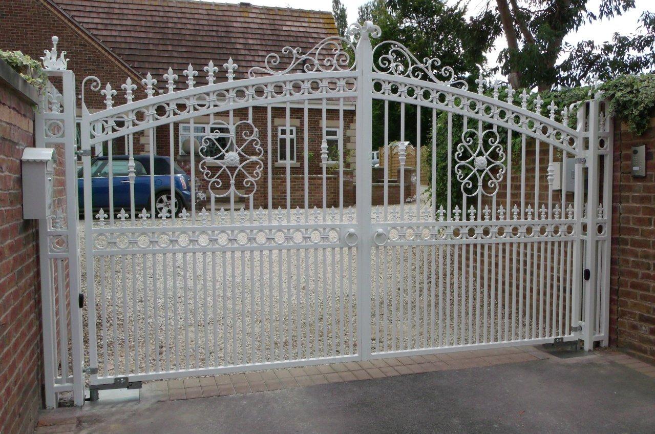 white coloured security gates