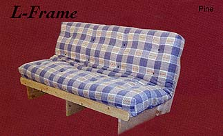 """PREMIUM L-FRAME.Unfinished Pine. Available in Double 54""""x74"""" and Queen 60""""x80"""" The L-Frame functions both as a couch and an inexpensive bed. Includes a 8 Layer futon mattress. Frame is unfinished and can easily be stained or painted to suit your own personal preferences. Double and Queen"""