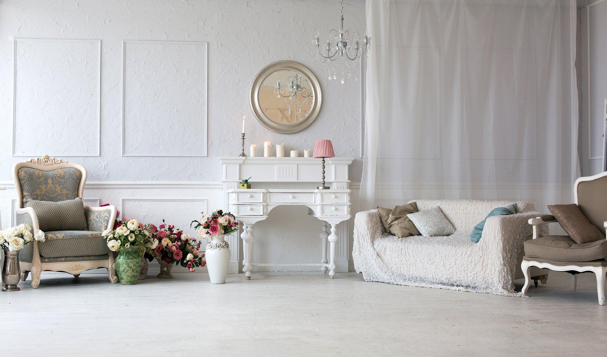 Luxury showroom with vintage furniture