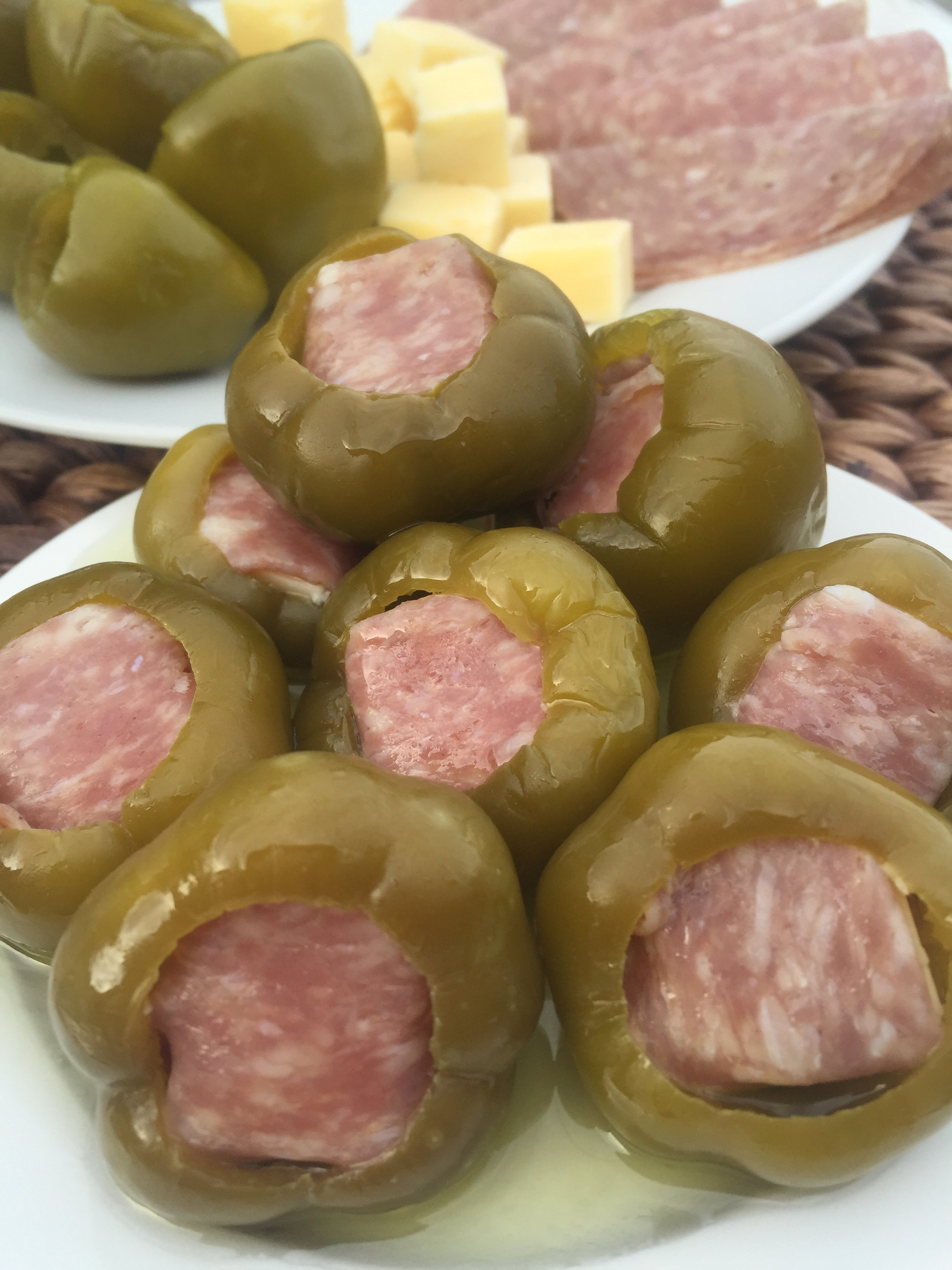 Stuffed Olives with Salami & Cheddar