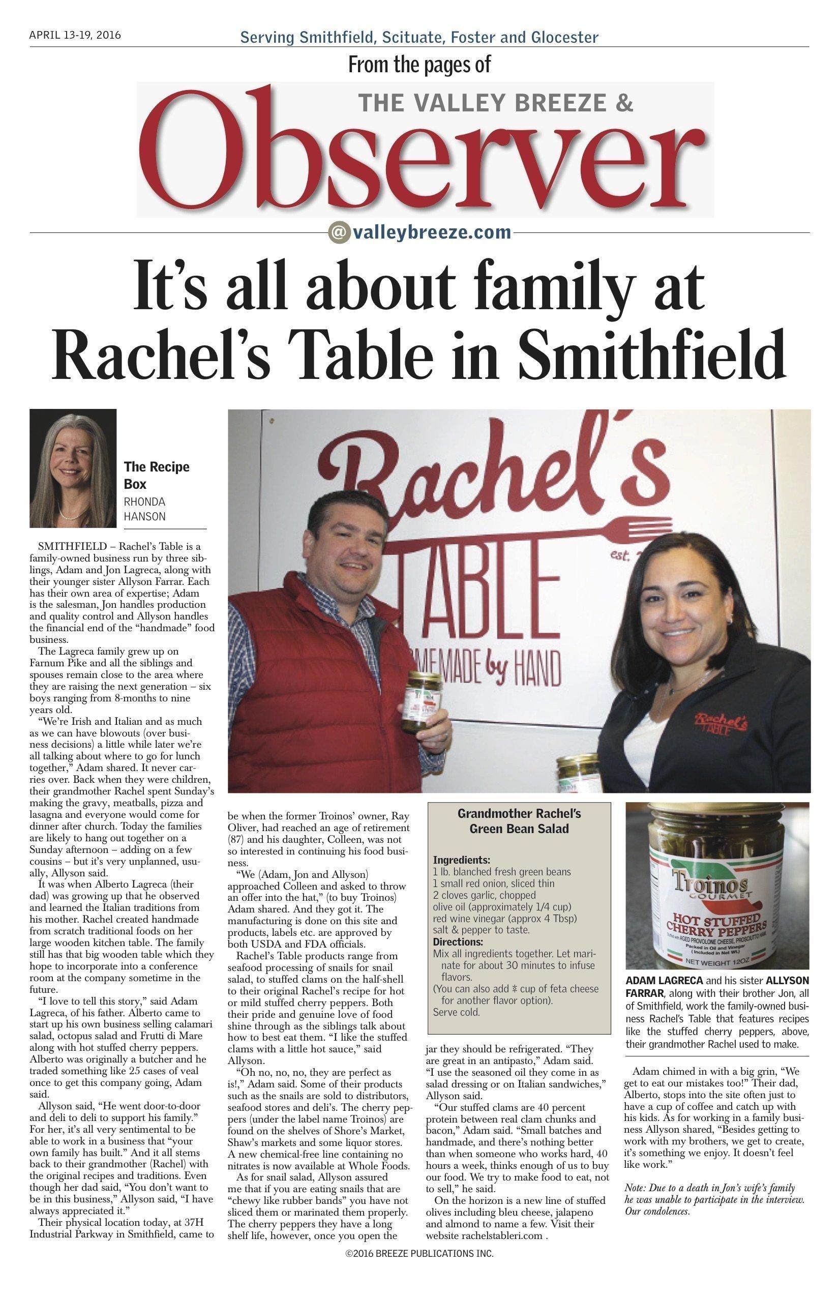 Rachel's Table Observer