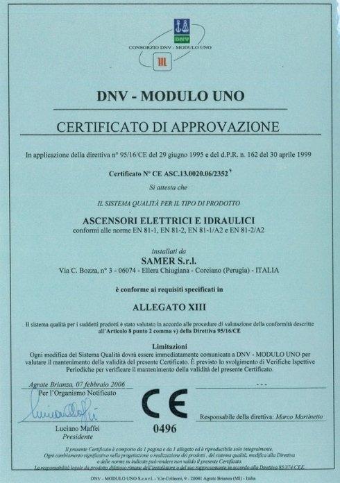 certificato ALL.XIII