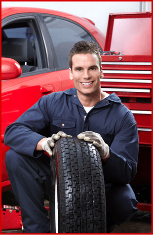 An engineer with a tire