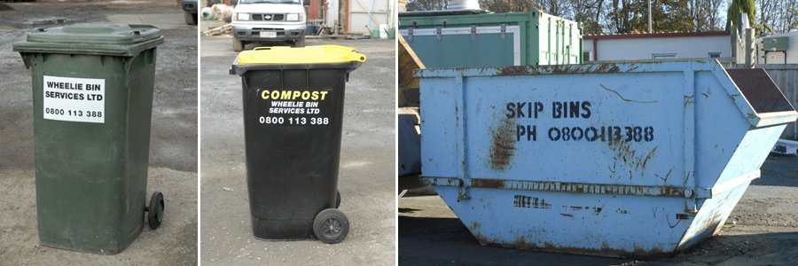 A range of hire bins as part of waste disposal services in Matamata