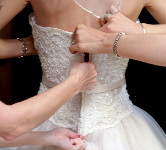 Bride making dress alterations at Tailor Made in Kenmore