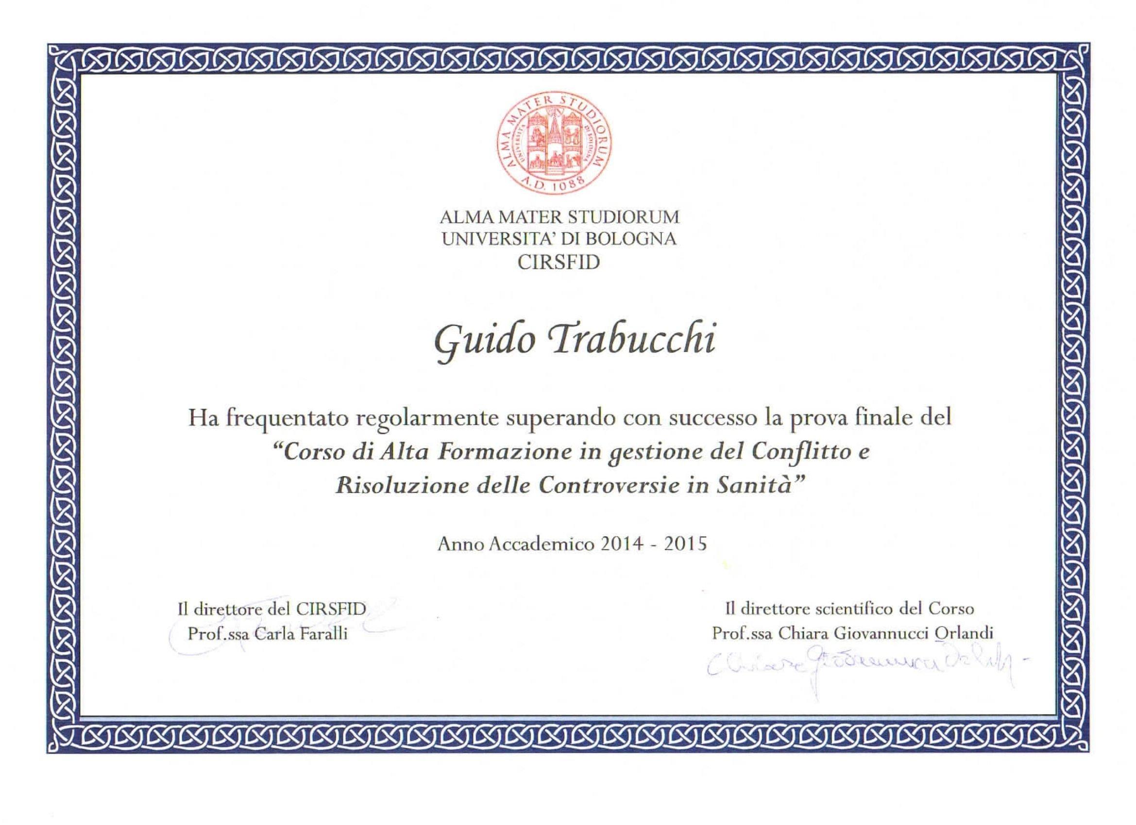 Attestato intestato a Guido Trabucchi