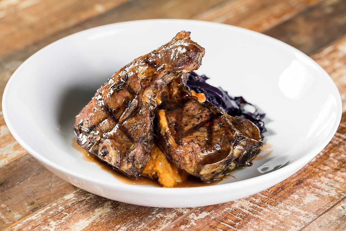 lamb chops with sweet potato mash