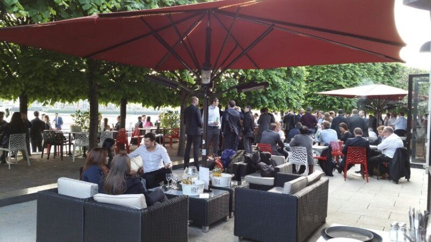 Terrace bar in Canary Wharf