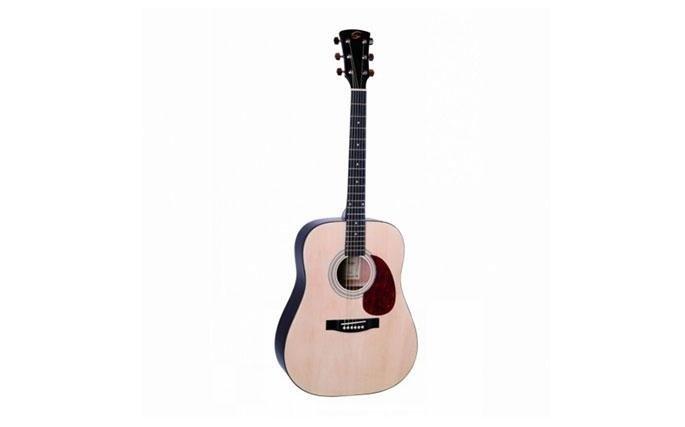 Chitarra Acustica Soundsation DG120: DG120 è una grande scelta per studenti e principianti esigenti tono e giocabilità. Forma Dreadnought è il favorito di tutti i tempi per il tono e il comfort profondo. Il design classico è enanched dal guscio di testuggine battipenna e decorazione buca. Costruita con gli stessi principi dei modelli più costosi, è la scelta ideale per gli studenti o la chitarra tempo libero allo stesso modo.