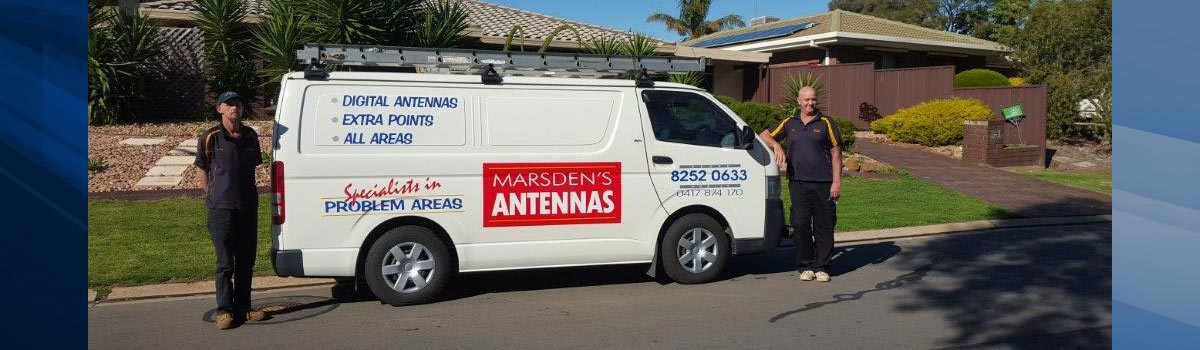 marsdens antenna systems man standing near the vehicle