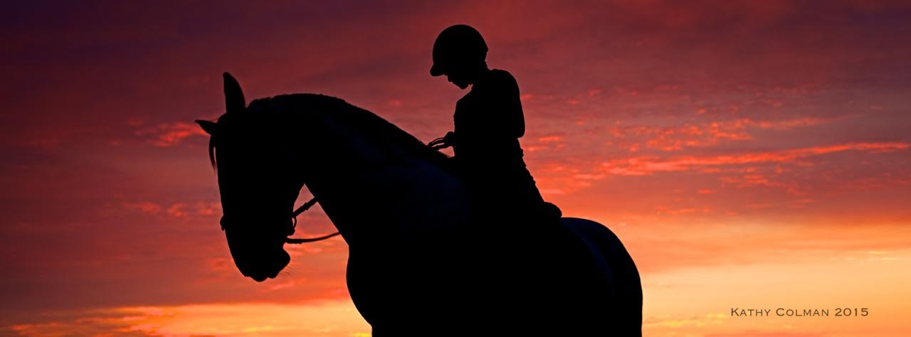 horse riding lessons at sunset
