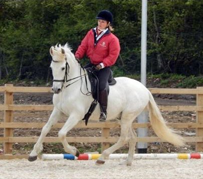 A lady in a red jacket riding a white horse around a training ring