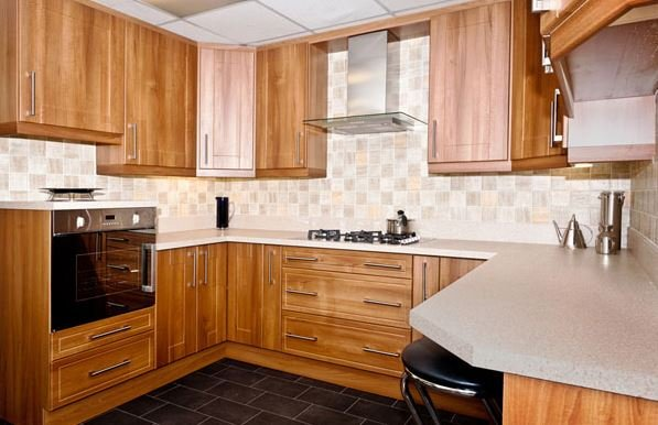 An example kitchen layout, with kitchen cupboards, worktops and appliances