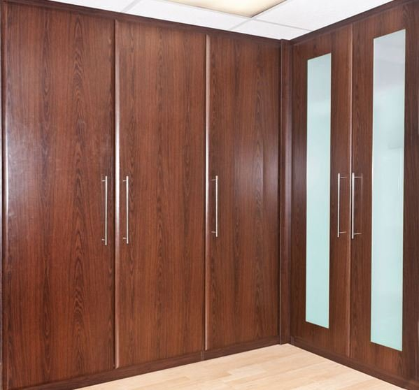 A built-in fitted wardrobe