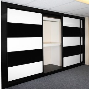 A black and white sliding wardrobe