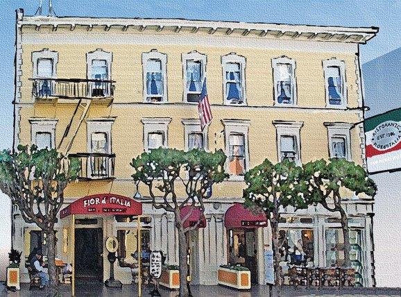 North Beach Restaurant painting, San Francisco CA