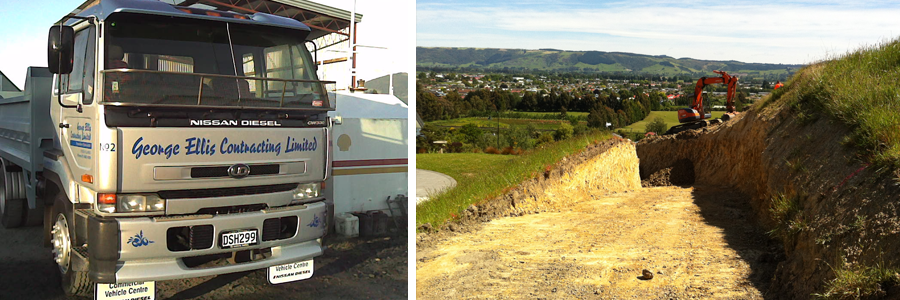 Trucks used by excavating contractors in Dunedin
