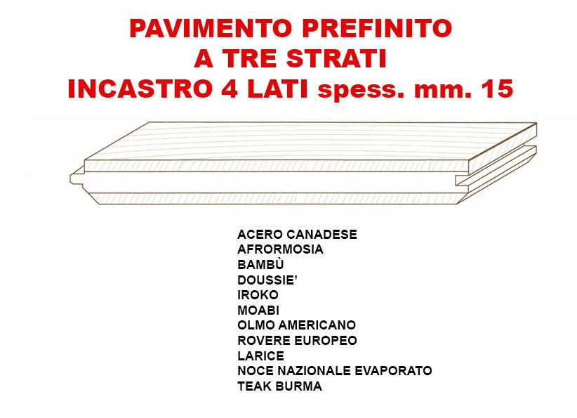 volantino di PAVIMENTO PREFINITO A TRE STRATI INCASTRO 4 LATI SPESS.MM.15