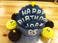Blue, yellow and brown cakes