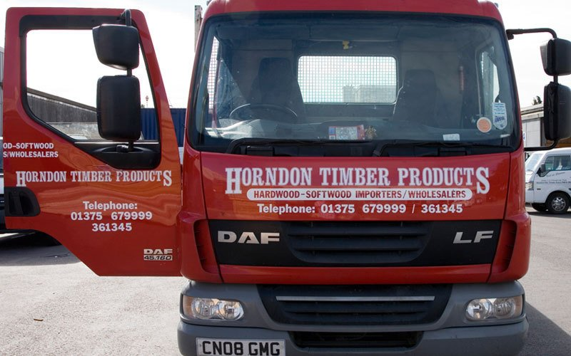 Horndon timber product branding on the transport vehicle