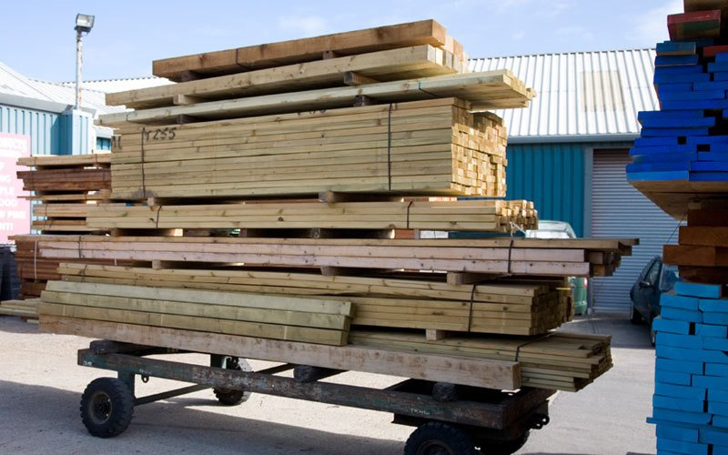 Stack of wide range of timber